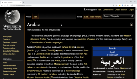 Web page viewed in high contrast mode